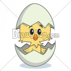 cute cartoon chick hatching