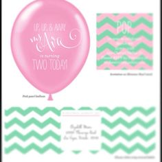 Custom Design Balloon Invitation in a box with by ohgoodiedesigns