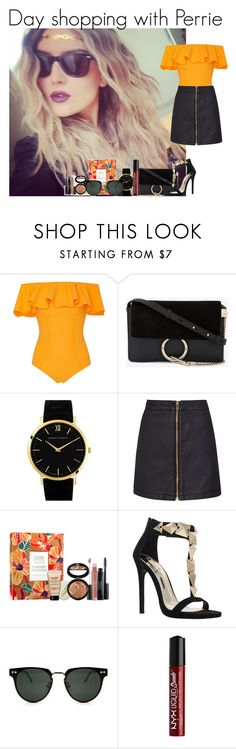 """""""Day shopping with Perrie"""" by mllestylesusa ❤ liked on Polyvore featuring Lisa Marie Fernandez, Chloé, Larsson & Jennings, Reiss, Laura Geller, Carvela, Spitfire and NYX"""