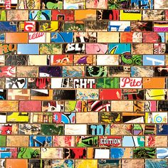 Tiles made from old skateboard decks.  Love the colors and designs.  So cheery and green! By Art of Board.