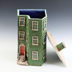 Leaf Green Row House // Washington D.C. Row House Series // Ceramic Sculpture // Architectural Sculpture // Clay House // House // Row House