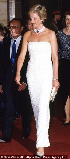 May 7, 1990: Princess Diana at a presidential dinner at Parliament Building in Budapest, Hungary.