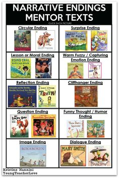 Narrative Endings FREE! Writing Narrative Endings Printable Mentor Text Ideas- Young Teacher Love by Kristine NanniniFREE! Writing Narrative Endings Printable Mentor Text Ideas- Young Teacher Love by Kristine Nannini Teaching Narrative Writing, Writing Mentor Texts, Personal Narrative Writing, Writing Lessons, Writing Activities, Personal Narratives, Writing Ideas, Writing Traits, Informational Writing