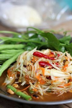 Som Tum (Thai green papaya salad).   So so so good.. Michael and I could eat it every day!! :-)
