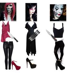 Creepypasta: Skelea, Miss Magicus, Dolly by creepypastaocs on Polyvore featuring Thierry Mugler, Space Style Concept, Paige Denim, Noisy May, Christian Louboutin, JustFab, Crate and Barrel and Zwilling