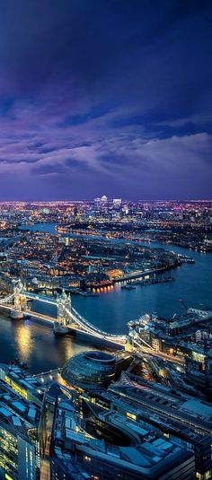 Looks like this photo was taken from The London Eye: Evening Lights.. Thames River, London