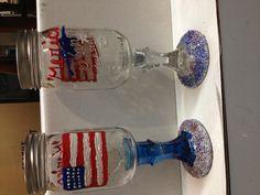 Redneck wine glasses America themed #america #crafts #wine