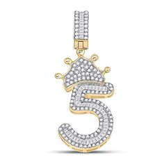 10kt Yellow Gold Mens Baguette Diamond Number 5 Crown Charm Pendant 3/4 Cttw Tiea Jewels Hello Kitty Kitchen, Initial Pendant, Diamond Settings, Baguette Diamond, Number 5, Item Number, Gold Material, Metal Stamping, Types Of Metal