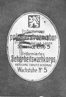 Czech inscriptions smeared by Sudeten German activists, March 1938, Teplice (German: Teplitz).