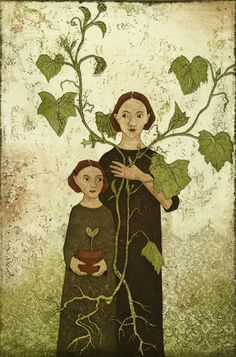 Green - mother and child - Lehti Piia  - Miracle of Growth