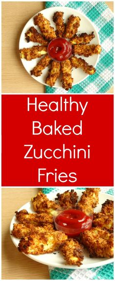 Baked Zucchini Fries Recipe | These healthy zucchini fries are baked in the oven, so they're totally healthy! They're vegan, can be made gluten-free and are just as easy as opening up a bag of fries from the store. This is now my go-to side dish recipe! v