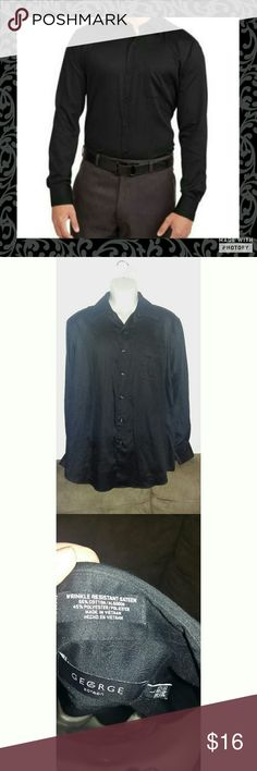George Sateen Button up Black button up. In excellent used condition no sign of wear. Size large 55% cotton 45% polyester. Has front pocket. George Sateen  Shirts Dress Shirts