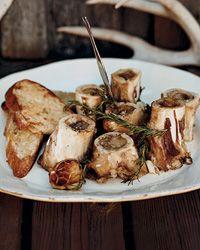 Grilled Marrow Bones with Rosemary-Lemon Bruschetta Recipe from Food & Wine  http://www.foodandwine.com/recipes/grilled-marrow-bones-with-rosemary-lemon-bruschetta  Pair with a syrah