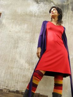 Convertible dress long sleeves  -Women's wrap dress in red and purple- SNUGGLE UP DRESS-knee length-Mix&match your colors
