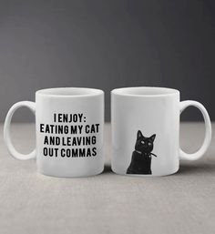 I Enjoy Eating my Cat Funny Grammar Quote with Cute Cat Photo Mug – zitieren Grammar Quotes, Grammar Humor, Good Grammar, Cute Cats Photos, Police Gifts, Birthday Coffee, Cat Mug, Gifts For Friends, Photo Mugs