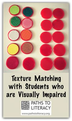Match Game Texture matching is a great pre-braille activity!Texture matching is a great pre-braille activity! Visually Impaired Activities, Tactile Activities, Activities For Adults, Classroom Activities, Learning Activities, Learning Centers, Student Teaching, Teaching Tools, Multiple Disabilities