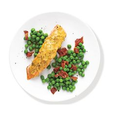 Mustard-Glazed Salmon With Peas ❤ liked on Polyvore featuring food, comidas, fillers and food 3