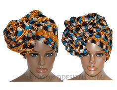 Extra long Orange/blue African Print by TessWorldDesigns on Etsy
