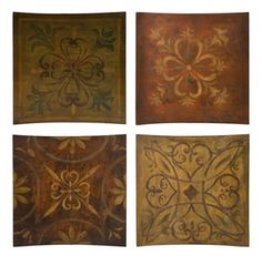 Set/4 Tuscan Old World Large Wood Plaques--Wall Decor $99.99
