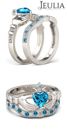 Heart Cut Aquamarine Rhodium Plated Sterling Silver Claddagh Ring/ Engagement Ring Set #jeulia