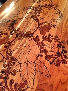 Pyrography floral wood burning art on cedar chest