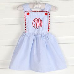 Piper Dress Light Blue Stripe Seersucker & Red - Girls Smocked Auctions