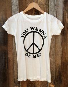 You Wanna Peace of Me? Women's Vintage Tee White/Black