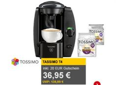 Allyouneed: Tassimo T4 mit 20-Euro-Gutschein und 2x T-Disc für 36,95 Euro https://www.discountfan.de/artikel/essen_und_trinken/allyouneed-tassimo-t4-mit-20-euro-gutschein-und-2x-t-disc-fuer-36-95-euro.php Bei Allyouneed lockt heute als Tagesangebot die Heißgetränkemaschine Tassimo T4 für 36,95 Euro frei Haus. Das Besondere dabei: Im Preis enthalten sind Tassimo-Gutscheine über 20 Euro, sodass man für die Maschine rechnerisch nur 16,95 Euro zahlt. Allyouneed: Tassimo T