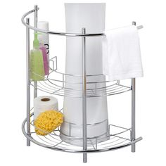 Chrome-finished pedestal sink rack with hanging bar and two curving shelves.     Product: Pedestal sink rackConstruction M...