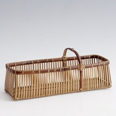 Yokota Hōsai, 'Rectangular Ikebana Flower Basket Showa era ca. Japanese Bamboo, Japanese Flowers, Bamboo Basket, Wicker Baskets, Rattan, Sisal, Bamboo Crafts, Weaving Art, Oui Oui