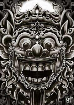 Asian Tattoos, Black Ink Tattoos, Black And Grey Tattoos, Balinese Tattoo, God Tattoos, Mask Drawing, Kunst Tattoos, Indonesian Art, Barong