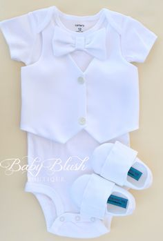 All white Vest Bow tie Baby Boy Outfit Photo Prop Matching Shoes. This would be cute for a baptism!