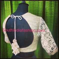 Stylish Khadi Blouse ~ Celebrity Sarees, Designer Sarees, Bridal Sarees, Latest Blouse Designs 2014