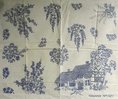 VINTAGE EMBROIDERY TRANSFER - THATCHED COTTAGE  FLORAL MOTIFS