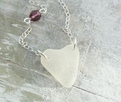 Scottish Sea Glass Heart and Crystal Necklace - BIRTH STONE HEART £22.00