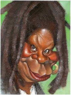Caricature of Whoopy Goldberg, illustrated by Vizcarra by glenna
