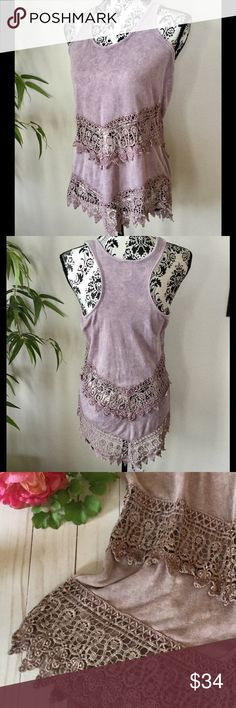 """BKE Gimmicks lace trim tank Mauve / dusty rose colored loose fitting waffle weave tank trimmed with crochet lace. Variation in coloring for a beautiful distressed antique look. Measurements laying flat: 18"""" (without stretching), length 26"""" angling down to 30"""". Excellent condition. Gimmicks Tops"""