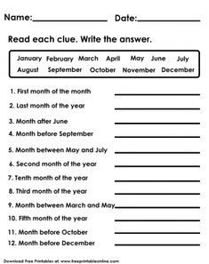 Fully customize any of our Kids Worksheets by utilizing the fun tools that we offer. This Months of the Year Kids Worksheet image is free to print out. Calendar Worksheets, Worksheets For Class 1, Mental Maths Worksheets, Seasons Worksheets, English Worksheets For Kindergarten, French Worksheets, First Grade Worksheets, Year 2 English Worksheets, English Activities For Kids