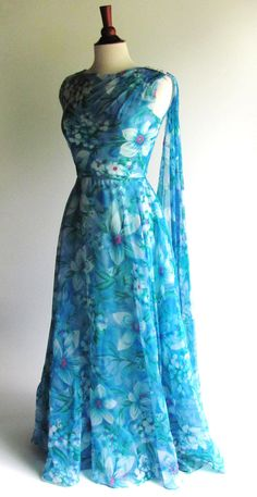 60s Maxi Dress with Flowing Shoulder Scarf, Vintage Tropical Blue Floral…