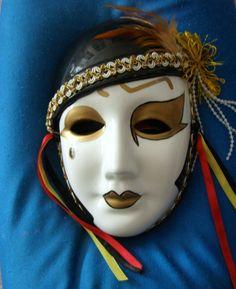 Venetian Style Mardi Gras Carnival Ceramic Vintage by FunkAndMore, $14.00   Very Liza Minelli ala Cabaret!