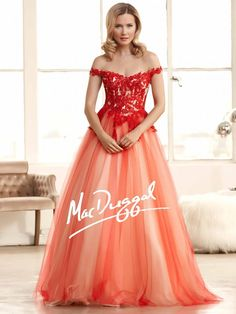 Red Prom Dress | Lace Ball Gown | Off the Shoulder | Mac Duggal 48267H