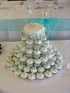 Beach Themed Cupcakes for birthday party Beach Wedding Cupcakes, Beach Theme Cupcakes, Bridal Shower Cupcakes, Wedding Cakes With Cupcakes, Beach Wedding Decorations, Themed Cupcakes, Wedding Centerpieces, Beach Themed Wedding Cakes, Beach Bridal Showers