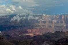 Clouds hang low in Grand Canyon above the Colorado River, seen from Walhalla overlook North Rim. http://geogypsytraveler.com/2014/10/06/mixed-goodbye-grand-canyon/