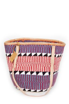 Josephine Woven Fabric Tote by Meyelo. Handcrafted from cotton and tanned leather by local artisans in Kenya.