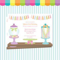 Candyland invitation, candy land birthday, candy birthday invitation, candy land invitation, candy shoppe invitation, sweet shop birthday by Greencard on Etsy https://www.etsy.com/listing/265641817/candyland-invitation-candy-land-birthday