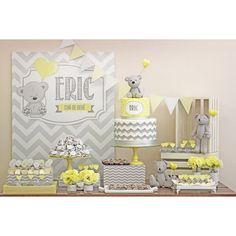Convite Arquivo PDF - Ursinho cinza e amarelo | Shopfesta
