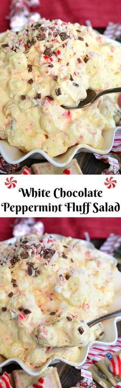 White Chocolate Peppermint Fluff Salad. This fluff salad is made with white chocolate pudding, marshmallows, candy cane kisses, and peppermint bark.