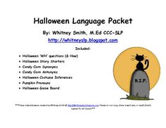 Halloween Language Packet for Speech Therapy