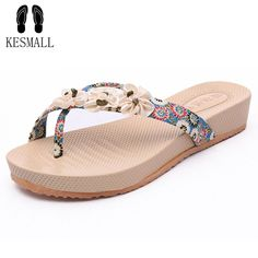 KESAMLL 2017 Summer Shoes For Women Stretch Fabric EVA Flip Flops Beach Sandals Casual Wedge Platform Slippers Sandales WS69 #Affiliate