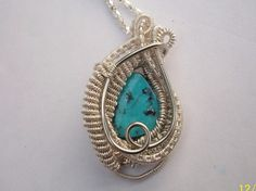 Natural Turquoise Morenci, Arizona Heady Wire Wrapped Pendant Handcrafted  #Handmade #Pendant #turquoise